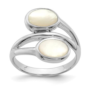 Sterling Silver Rhodium-plated Polished Mother of Pearl Ring