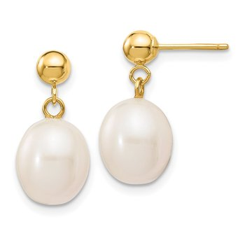 14k 8-9mm White Rice Freshwater Cultured Pearl Dangle Post Earrings