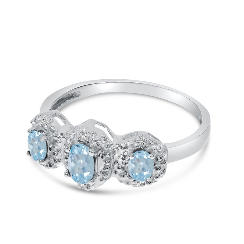 Color Merchants 10k White Gold Oval Aquamarine And Diamond Three Stone Ring