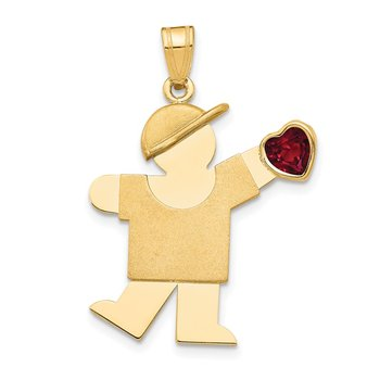 14k Boy with CZ July Birthstone Charm