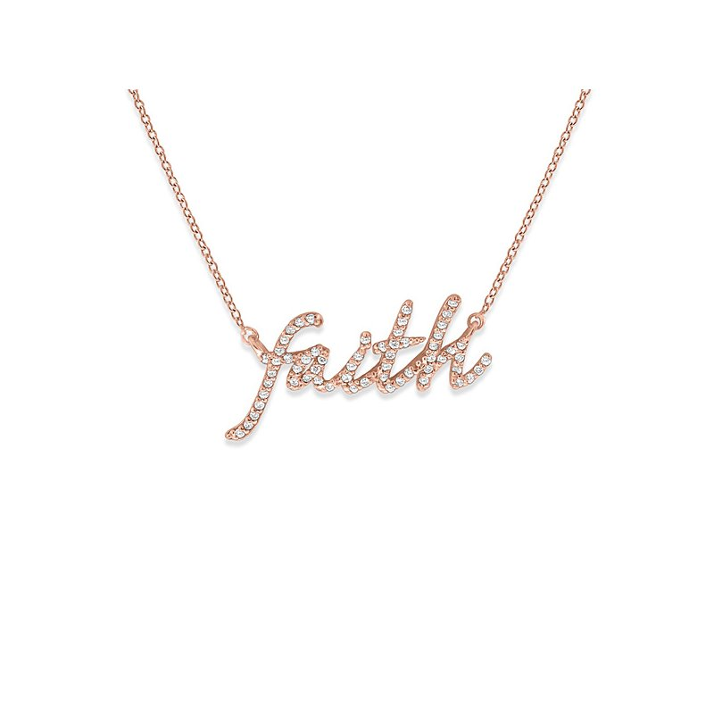 "KC Designs Diamond ""Faith"" Necklace in 14k Rose Gold with 59 Diamonds weighing .26ct tw."
