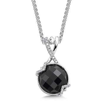 Sterling silver, black onyx and diamond pendant