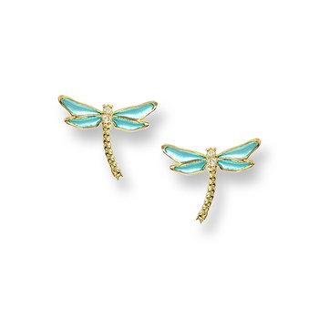 Blue Dragonfly Stud Earrings.18K -Diamonds - Plique-a-Jour