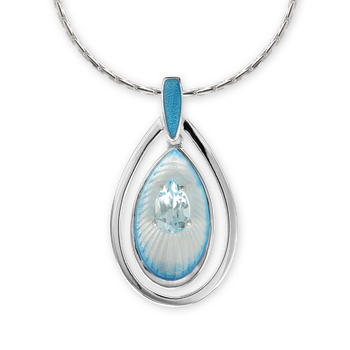 Sterling Silver Teardrop Necklace-Blue. Blue Topaz