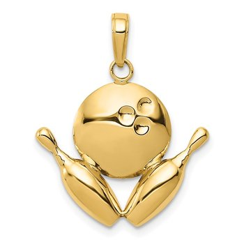 14k Diamond-Cut Bowling Theme Charm