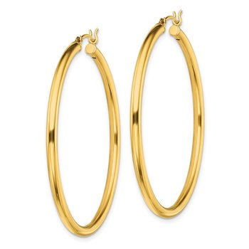 Sterling Silver Gold-Tone Polished 2.5x45mm Hoop Earrings