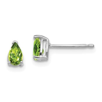 14k White Gold 5x3mm Pear Peridot Earrings