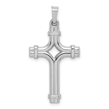 14k White Gold Polished Fancy Cross Pendant