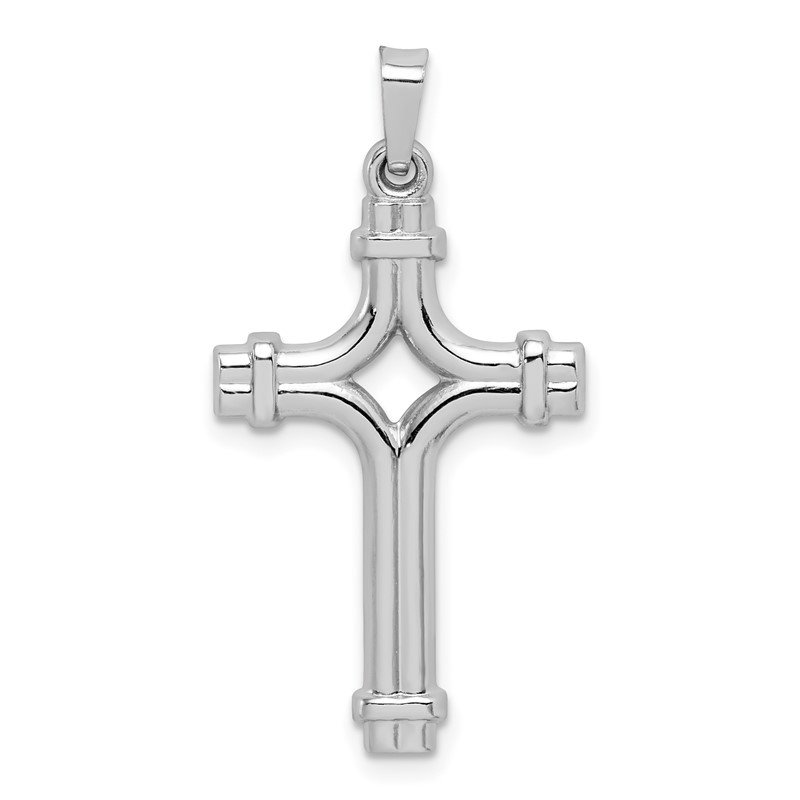 Quality Gold 14k White Gold Polished Fancy Cross Pendant
