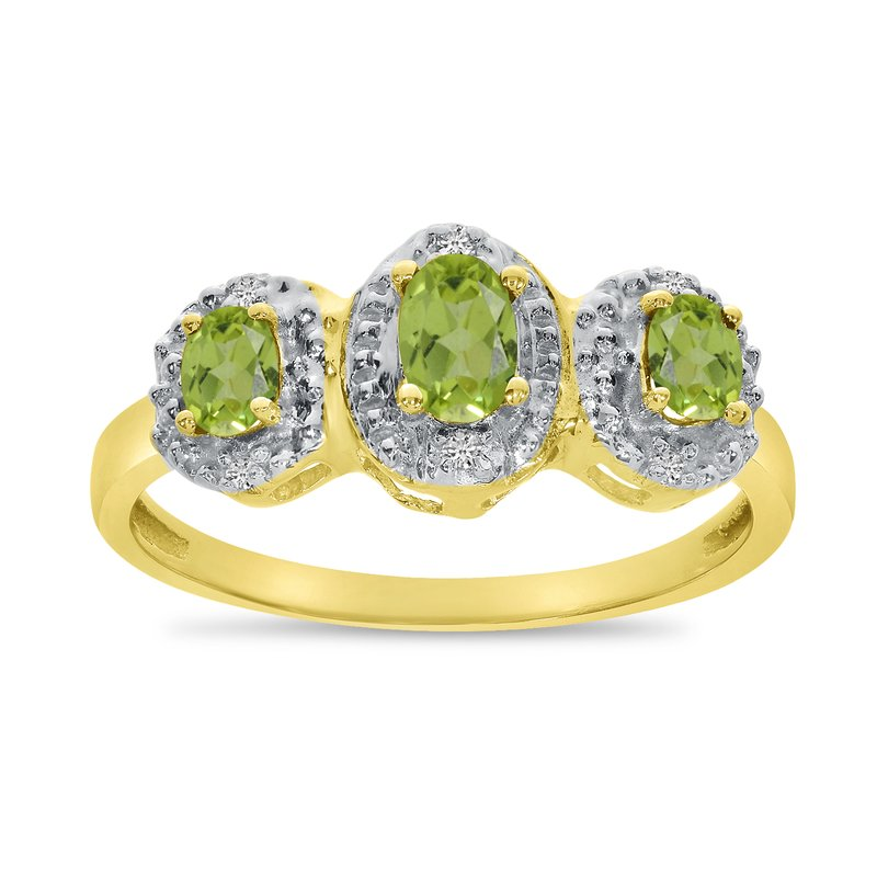 Color Merchants 14k Yellow Gold Oval Peridot And Diamond Three Stone Ring