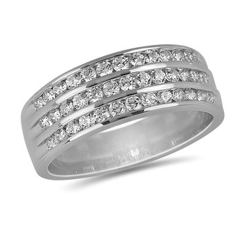 14K WG and diamond 3/4 cts wedding band 3 Row in channel setting
