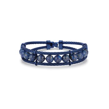 Large Blueberry Cable & Blue Lapis Bracelet