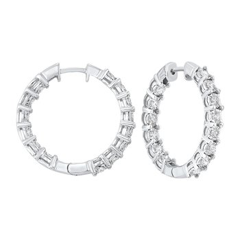 Diamond Inside Out Chunky Round Hoop Earrings in 14k White Gold (2 ctw)