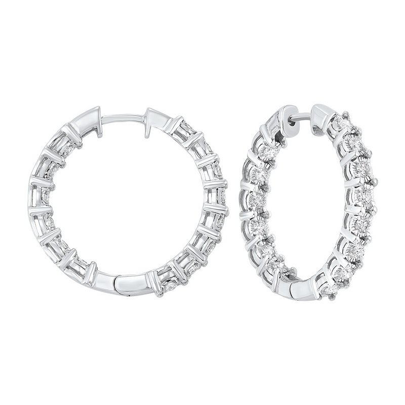 Gems One Diamond Inside Out Chunky Round Hoop Earrings in 14k White Gold (2 ctw)