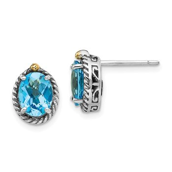 Sterling Silver w/14k Lt Swiss Blue Topaz Post Earrings