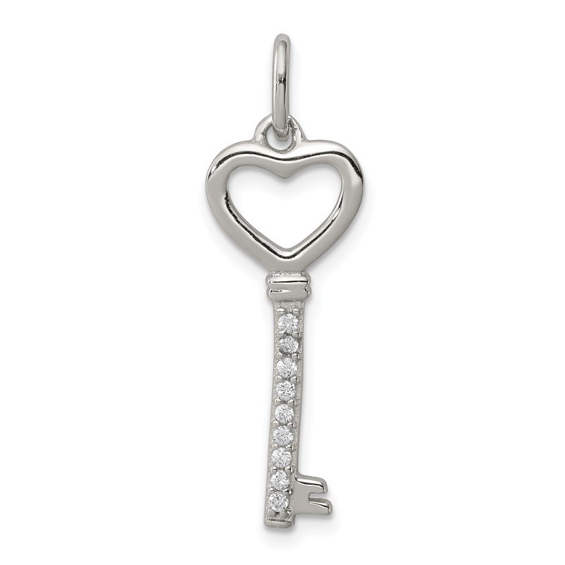 Quality Gold Sterling Silver CZ Key Pendant