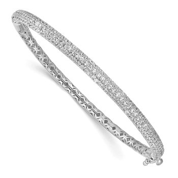 Sterling Silver Pav? Rhodium-plated 175 Stone CZ Hinged Bangle
