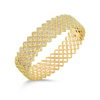 18Kt Gold 5 Row Diamond Bangle