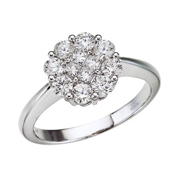 14K White Gold Diamond Clustaire Ring (1 carat)