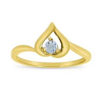 14k Yellow Gold Round Aquamarine Heart Ring