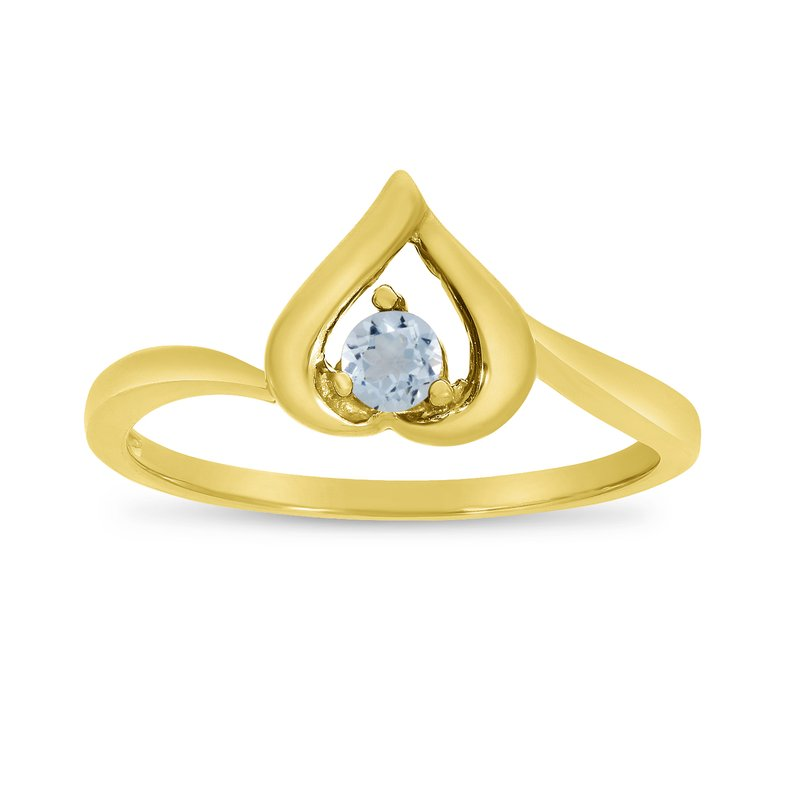 Color Merchants 14k Yellow Gold Round Aquamarine Heart Ring