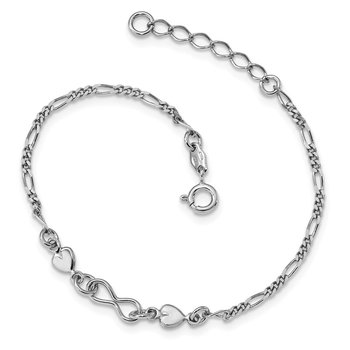 Sterling Silver Rhodium-Plated Heart w/ 1in ext. Bracelet