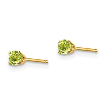 14k 3mm August/Peridot Post Earrings