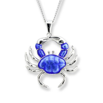 Blue Crab Necklace.Sterling Silver