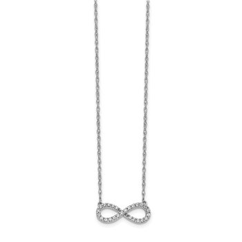 14k White Gold Polished Diamond Infinity Symbol 18 inch Necklace