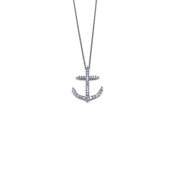 18Kt White Gold Anchor Pendant