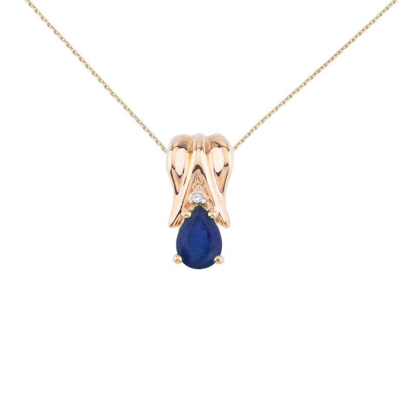 Color Merchants 14k Yellow Gold Sapphire Pear Pendant with Diamonds