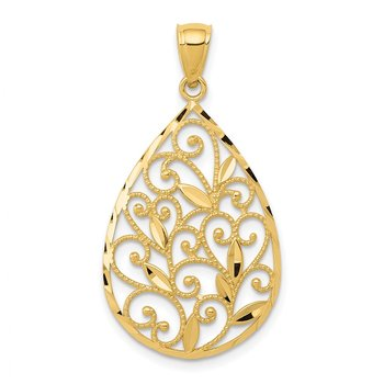 14K Gold Polished / Textured Filigree Teardrop Pendant