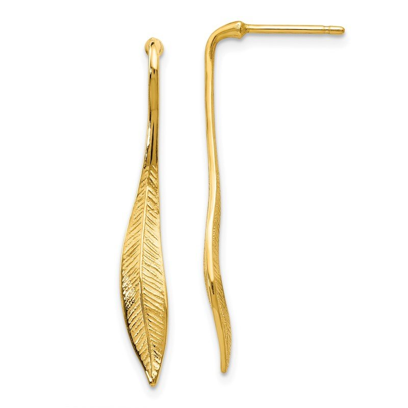 Quality Gold 14K Yellow Gold Feather Post Dangle Earrings
