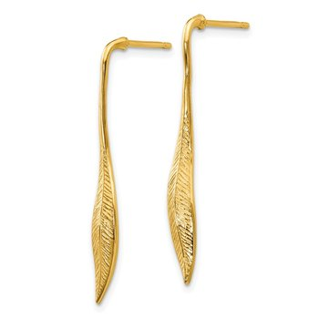 14K Yellow Gold Feather Post Dangle Earrings