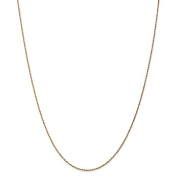 14k 1.15mm Diamond-cut Machine-made Rope Chain Anklet