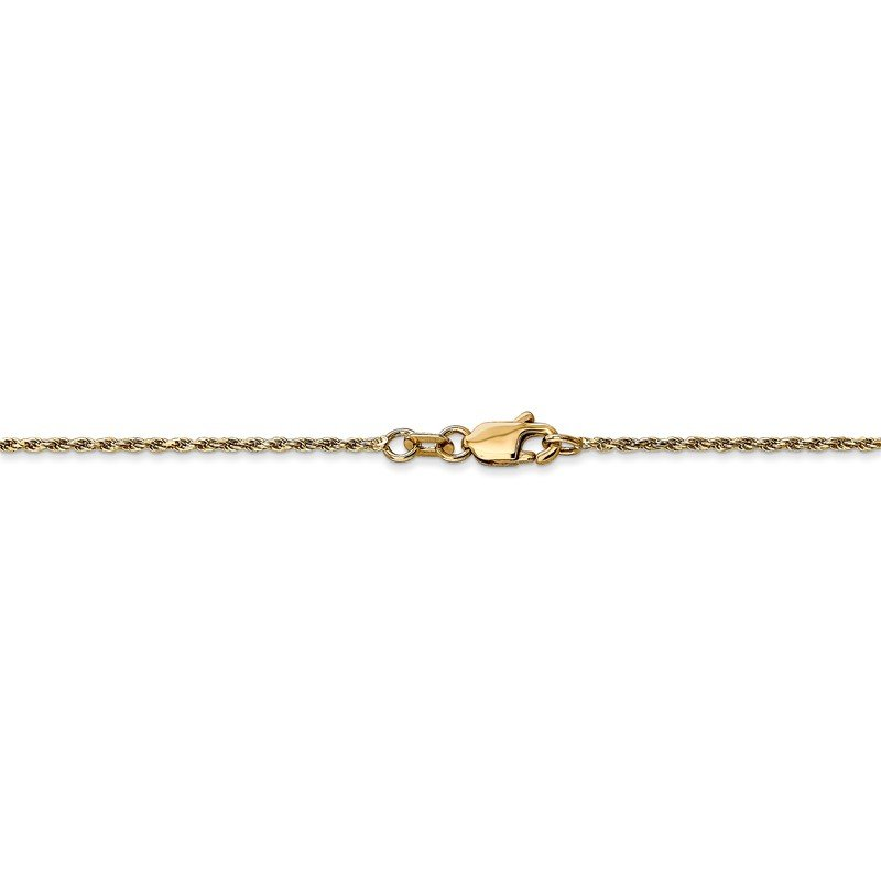 Quality Gold 14k 1.15mm D/C Machine-made Rope Chain Anklet