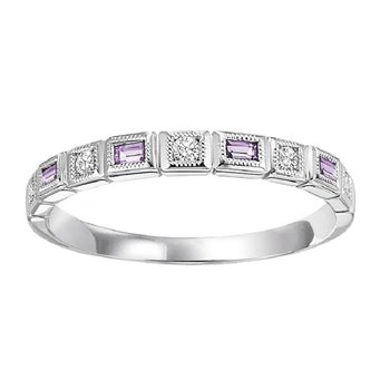 14K Amethyst & Diamond Mixable Ring