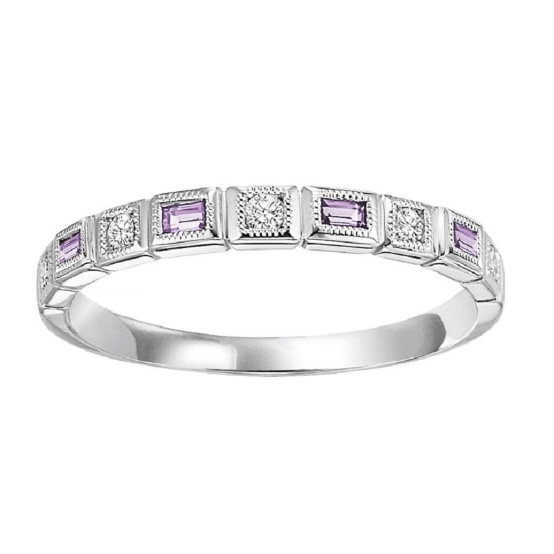 Mixables 14K Amethyst & Diamond Mixable Ring