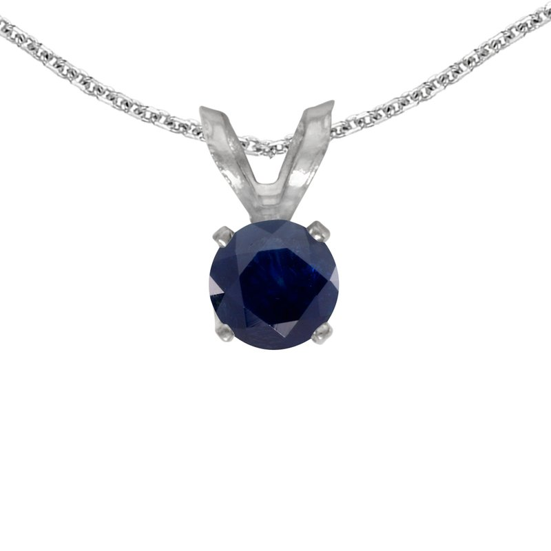 Color Merchants 14k White Gold Round Sapphire Pendant