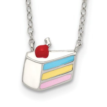 Sterling Silver Enameled Cake Necklace