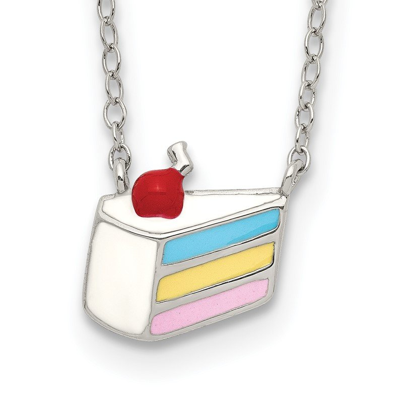 Quality Gold Sterling Silver Enameled Cake Necklace
