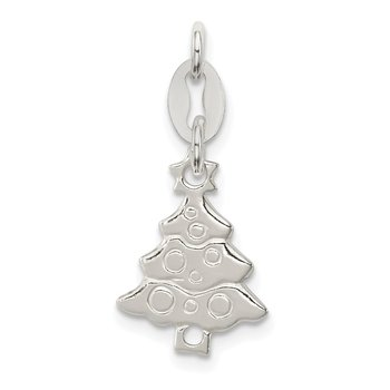 Sterling Silver Polished Christmas Tree Charm