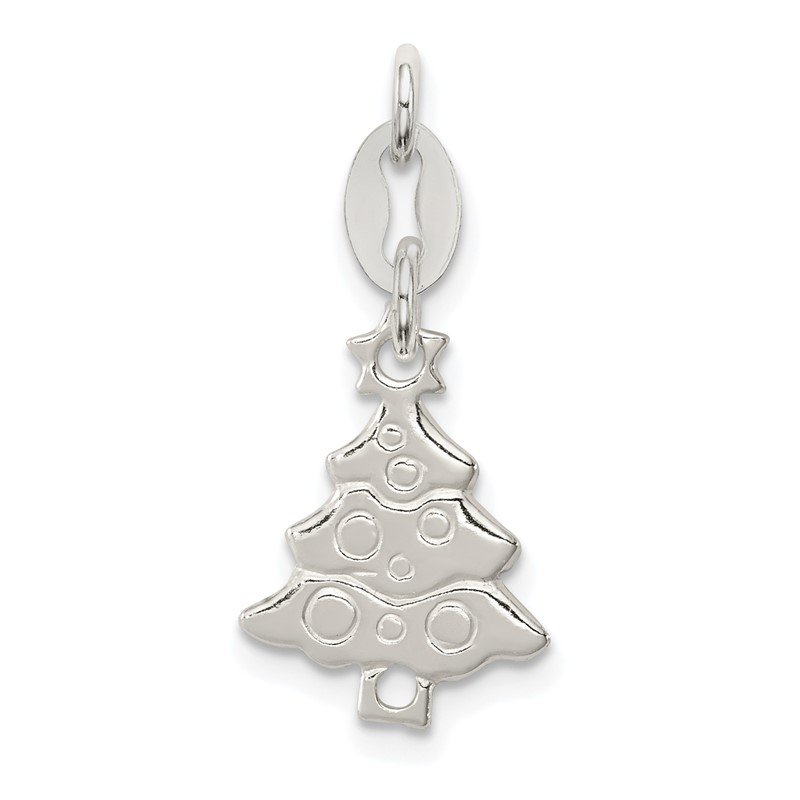 Arizona Diamond Center Collection Sterling Silver Polished Christmas Tree Charm