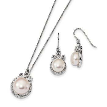 Sterling Silver RH 9-13mm FWC Pearl CZ Earring and Necklace Set