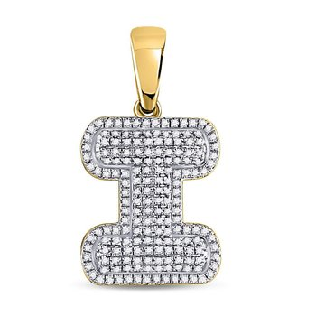 10kt Yellow Gold Mens Round Diamond Letter I Bubble Initial Charm Pendant 1/2 Cttw