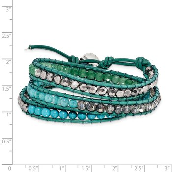 Green Aventurine/Crystal/ReconTurquoise/Leather Multi-wrap Bracelet
