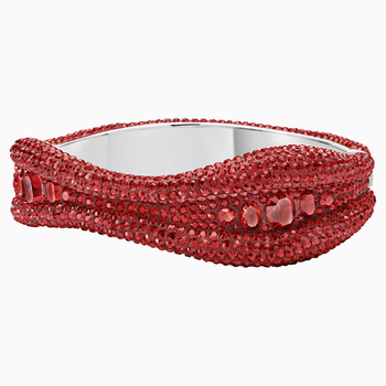 Tigris Bangle, Red, Palladium plated