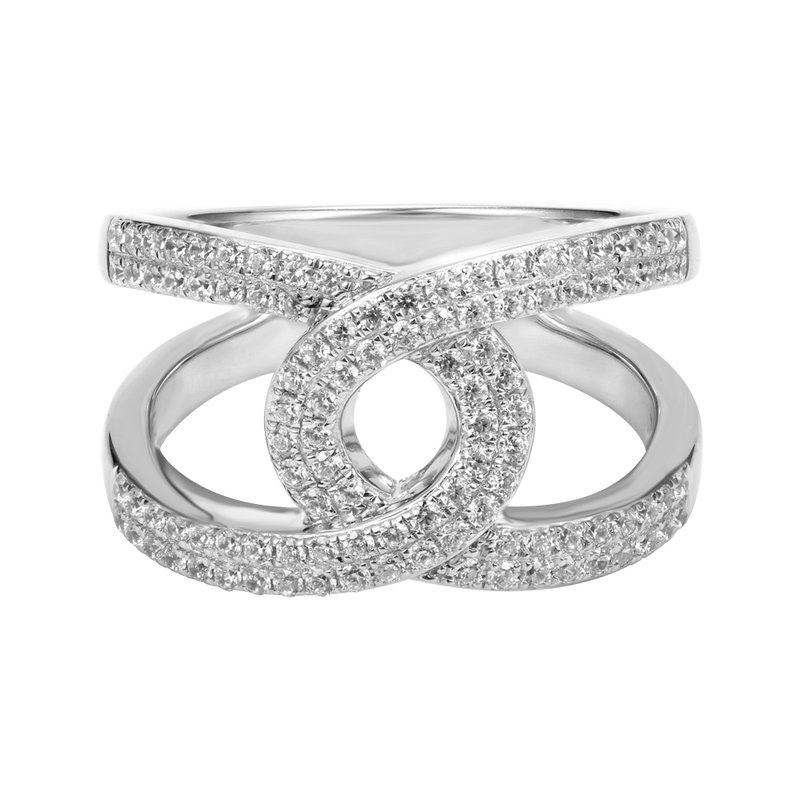 Shula NY Elegant Open work design ring in 14K gold, and diamonds T.W 0.65ct.