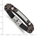 Chisel Stainless Steel Polished Black and Brown Leather 8.25in Bracelet