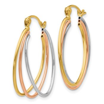 14K Tri Color Hoop Earrings